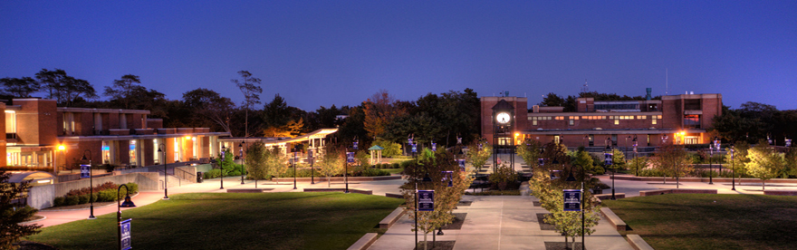 Veterans Plaza  on the Ammerman Campus at Night